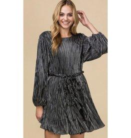 Think Again Ribbed Metallic Circle Balloon Sleeve Dress - Black