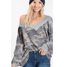 Cry A Little Less Camo V-Neck Puff Sleeve Top - Dusty Sage