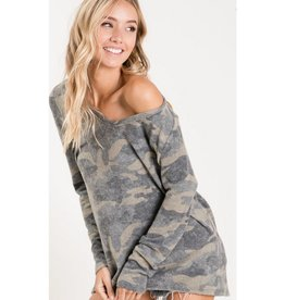 Everything For You Camo Print Deep U-Neck Top - Camouflage