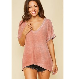 See Ya There Vintage Dyed V-Neck Top - Mauve