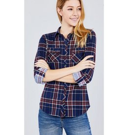 Ready To Dance Plaid 3/4 Sleeve Stretch Knit Top - Navy