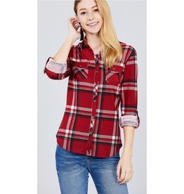 Ready To Dance Plaid 3/4 Sleeve Stretch Knit Top - Red