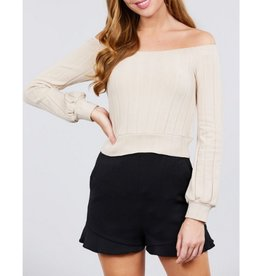Pull Me In Closer Off The Shoulder Rib Knit Top - Cream