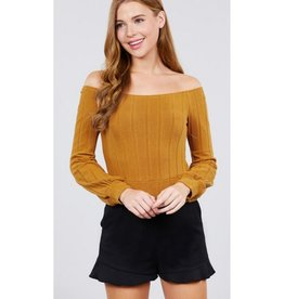 Pull Me In Closer Off The Shoulder Rib Knit Top - Camel