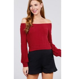 Pull Me In Closer Off The Shoulder Rib Knit Top - Spicy Chili