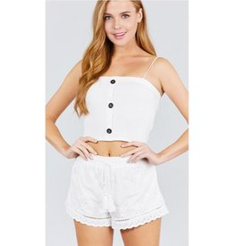 Driving Me Loco Button Down Rib Knit Tube Top - Off White