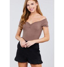 Make It Fancy Shirring Rib Bodysuit - Natural Brown