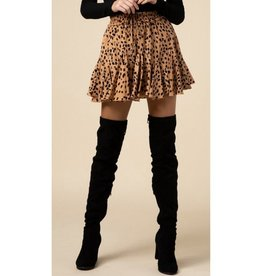 Make It Up Geometric Print Ruffle Skirt - Taupe