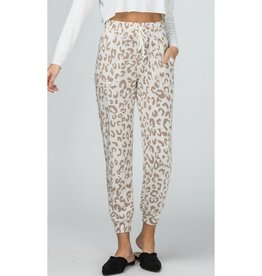 Coming Alive Leopard Print Drawstring Lounge Pants - Sand