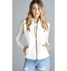 Winter Craze Padded Quilt Suede Vest - Off White