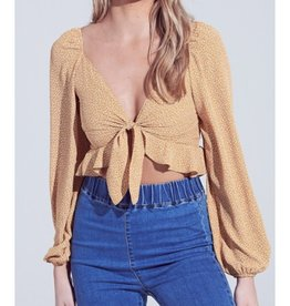 She's So Cool Front Tie Ruffled Bubble Sleeve Crop Top - Mustard/Ivory