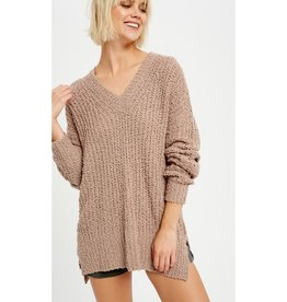 Help You Out Popcorn V-Neck Knit Pullover - Mocha