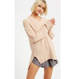 Help You Out Popcorn V-Neck Knit Pullover - Peach Puff