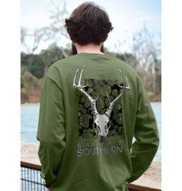 SU-Deer Skull Macabre-LONGSLEEVE-Military Green