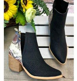 Catching Feelings Wooden Heel Ankle Booties - Black Multi