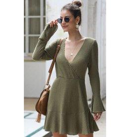 Meet Your Match Striped Knit Skater Dress - Green