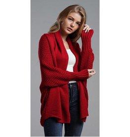 Lead Me Here Crochet Sleeve Cardigan - Red
