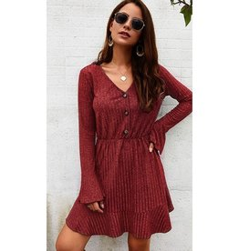 Dressed To Chill Ruffle Sleeve Swing Dress - Burgundy