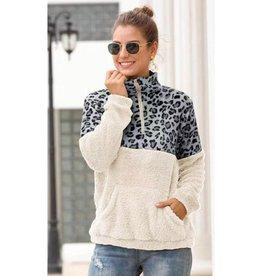In Perfect Harmony Leopard Colorblock Fleece Jacket - Grey Leopard/White