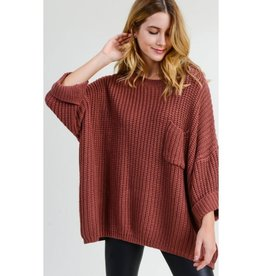 First To Know Chunky Knit Three Quarter Sleeve Oversized Pullover - Mauve