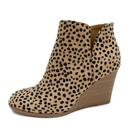 For The Look Leopard Print Wedge Booties - Leopard