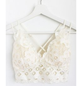 Fallen Flowers Scalloped Lace Bralette - Off White