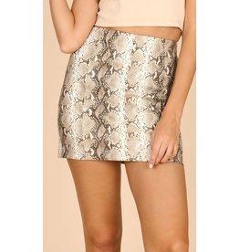 It's Destiny Snake Skin Mini Skirt - Grey
