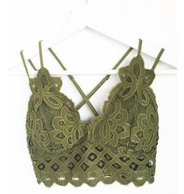 Fallen Flowers Scalloped Lace Bralette - Green Olive