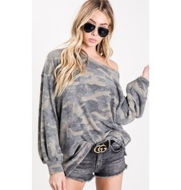 The Look Of Love Camouflage Wide Neck Balloon Sleeve Top - Camouflage