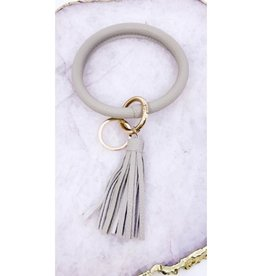 Leather Bangle Key Ring - Grey