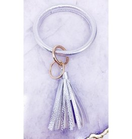 Leather Bangle Key Ring - Silver