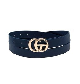 "Priceless Faux Leather 1"" Belt - Navy"
