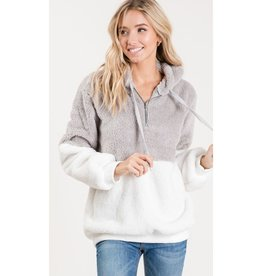 Dreams Are Forever Zip Up Faux Fur Pullover Hoodie Top - Heather Grey