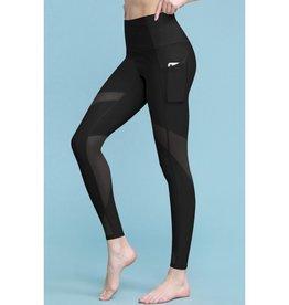 All For Fun Mesh Knee Body Shaper Leggings - Black