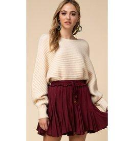 This Is Everything Ruffle Drawstring Skirt - Merlot