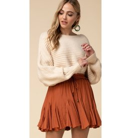 This Is Everything Ruffle Drawstring Skirt - Rust
