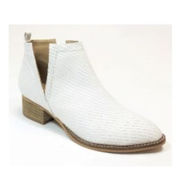 And Then Some Block Heel Textured Snake Booties - White