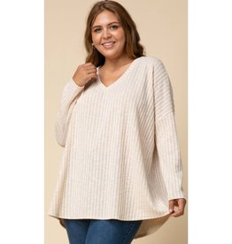 No More Games Ribbed Knit Top - Oatmeal