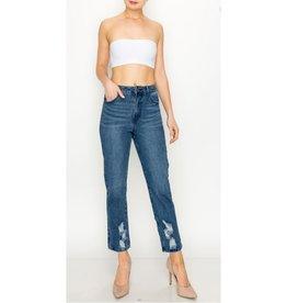 Better Luck Next Time High Rise Ripped Straight Jeans - Medium Indigo