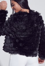 Times Are Changing Faux Fur Open Front Jacket - Black