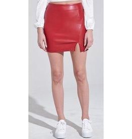 Nothing But The Best Pleather Bottom Slit Mini Skirt - Burgundy