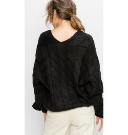 Heart Full Of Wonder Cable Knit V-Neck Pullover Sweater - Black