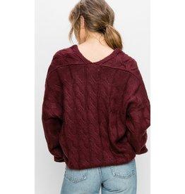 Heart Full Of Wonder Cable Knit V-Neck Pullover Sweater - Burgundy