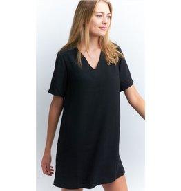 Classic Confidence Collar Shift V-Neck Mini Dress - Black