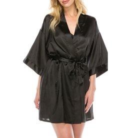 Next To Me Satin Robe Set - Black