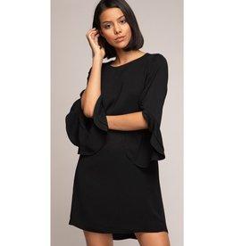 Chasing A Dream 3/4 Sleeve Ruffle Bottom Mini Shift Dress - Black