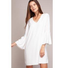Let's Talk It Over Oversized Sleeve Mini Shift Dress - Off White