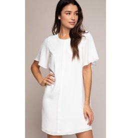 Something To Consider Ruffle Sleeve Mini Dress - Off White