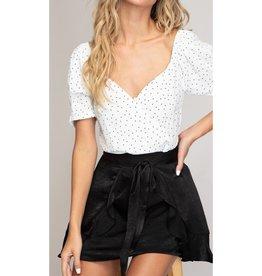 Lost Track Of Time Ruffle Layered Mini Skirt - Black
