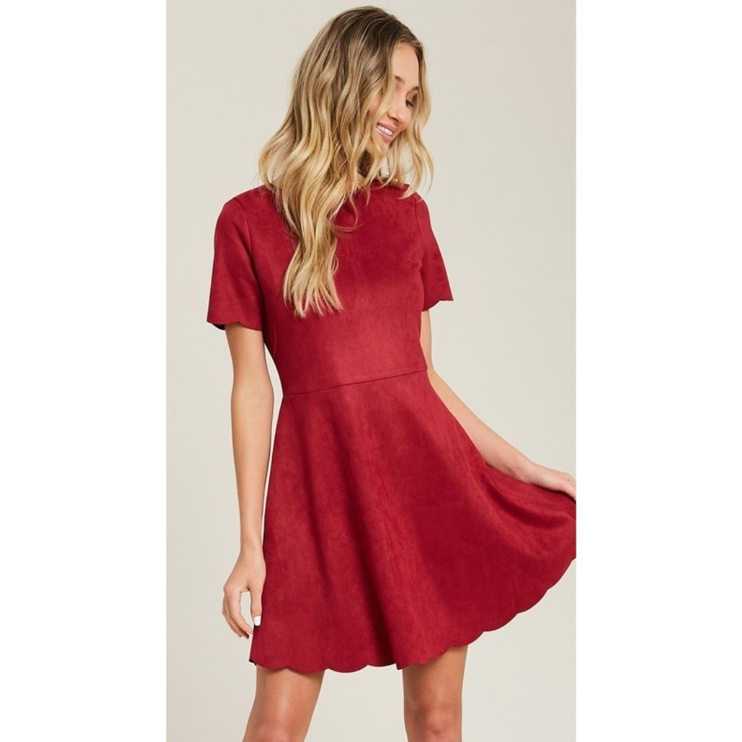 So This Is Love Scalloped Hem Suede Mini Dress - Wine